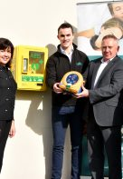 H&A Mechanical Services Directors, Margaret McCrystal, Carlus McWilliams and Martin Collins join Health & Safety coordinator Seaneen Liddy in accpeting newly installed Defibrilators from Tom Gourley from Emergency Medical Services, Magherafelt.